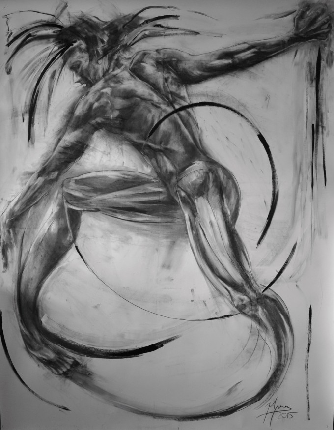 charcoal on paper 200 x 150 cm year2015