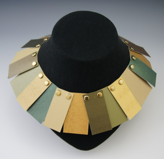 Neckpiece - Metallic Paint Samples, Brass Brads, Brass Snap