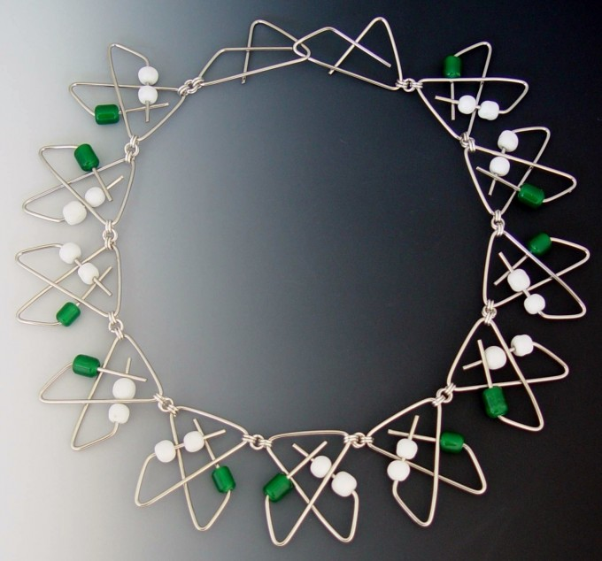 Neckpiece - Paper Clips, Glass Beads