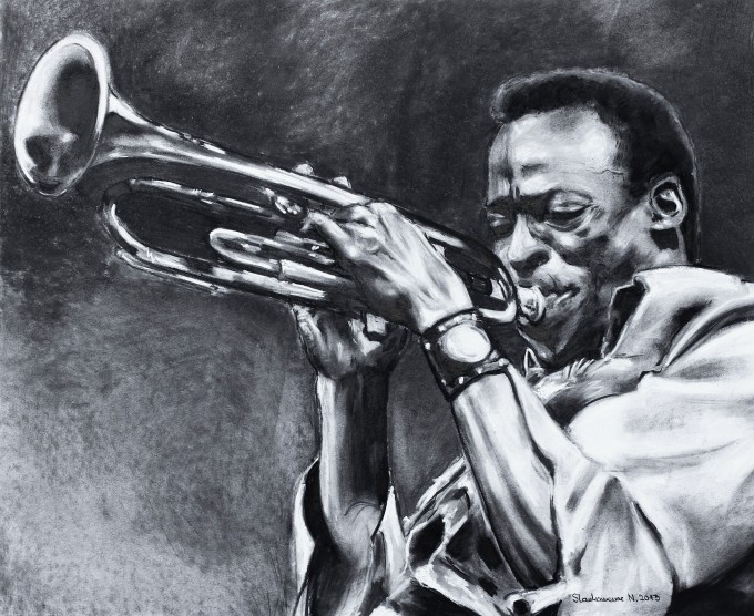 Play it Miles 47x57cmcharcoal on paper 2013.