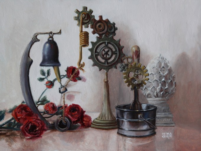 """Ring the Bell and Stir Things UP"" by Debra Keirce 6""x8"" oil"