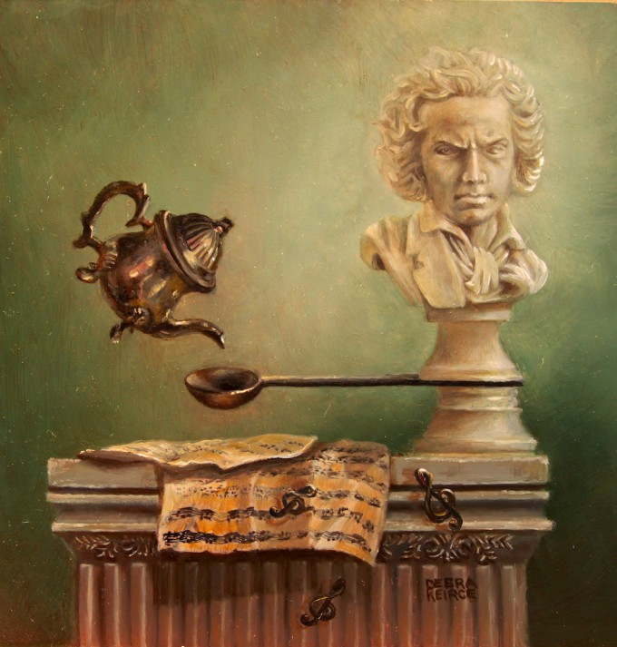 """Roll Over Beethoven"" by Debra Keirce 6""x6"" oil"