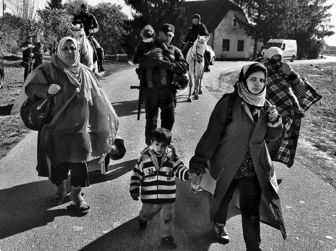 Refugees at the Slovenian border - photograph by the author - 2015