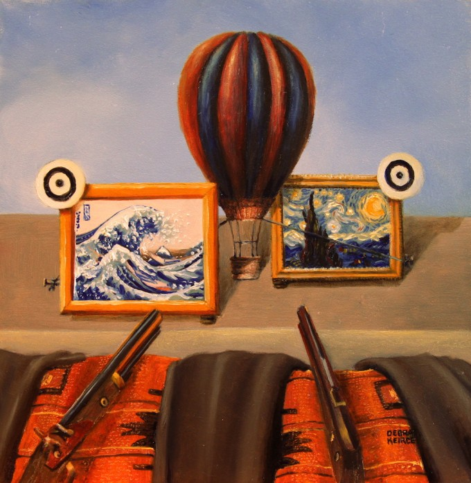"""Shooting Gallery"" by Debra Keirce 6""x6"" oil"