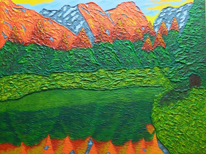 Impressionist painting featuring mountains, stream, snow and woodland.