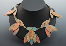 Neckpiece - Wooden Joining Biscuits, Colored Pencil, Brass, Copper, Screw Eyes