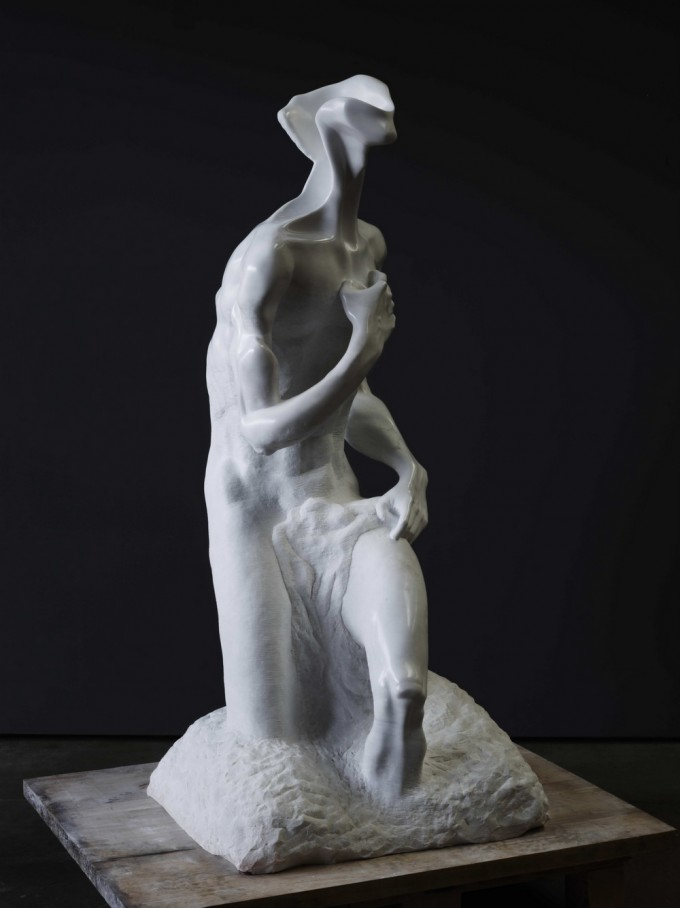 "white marble ""P"" of Carrara 165 cm x 60 cm x 60 cm 1999 -2001"
