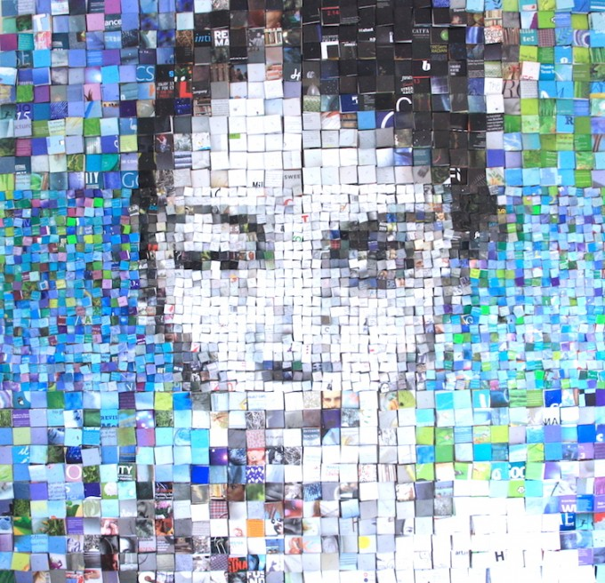 'Arace' 3d portrait collage-mosaic, 139x143x6 cm
