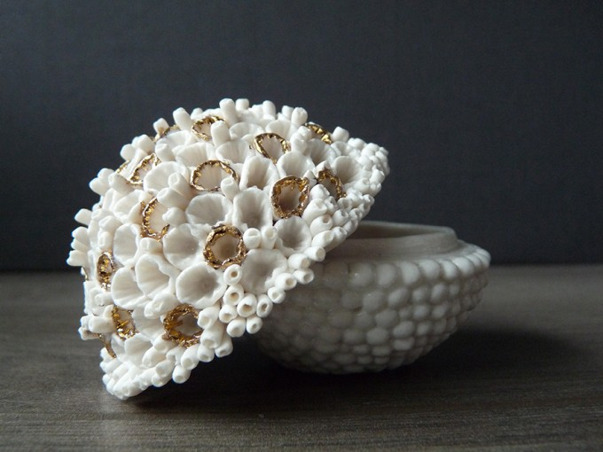 Coral Jewelry Box.Lisa Biris Ceramics