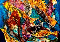 Android fishes, paint for glass on linen canvas, size 100 x 100 cm