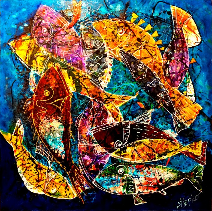 Android fishes, paint for glass on linen canvas, size 100 x 100 cm,Veritable explosion of color by Stjepko Mamic