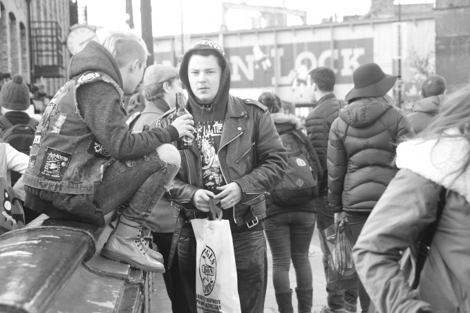 A couple of youngsters reviving punk and sharing a morning beer, London.