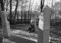 Joe with his stone carvings from his Pillars Past installation, Pateley Bridge, North Yorkshire