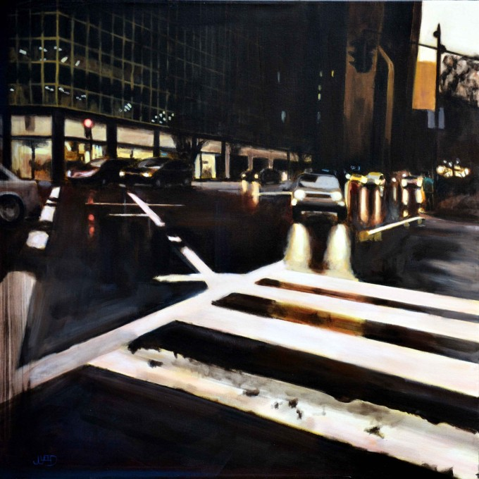 """Consequences"" 30""x30"" by Jonathan Gleed,Emotionally evocative paintings of everyday modern life, by Jonathan Gleed."