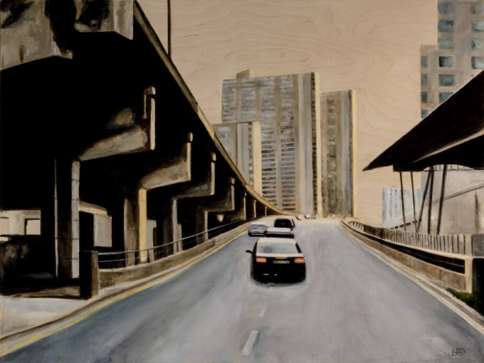 """On Ramp"" by Jonathan Gleed,Emotionally evocative paintings of everyday modern life, by Jonathan Gleed."