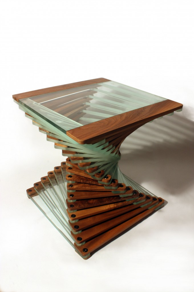 Stunning Solid Walnut And Glass Modern Designer Coffee Table Art People Gallery
