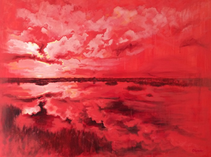 """""""Florida After-image #1"""", acrylic on canvas, 48 x 36"""". Collaboration with photographer/activist JohnBob Carlos."""
