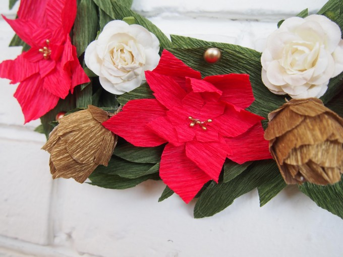 Close up to the paper Poinsettias & Pinecones.