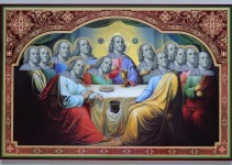 """Saint Franklin's Last Supper #1"". Original collage 40X60cm. © Yurko Dyachyshyn"