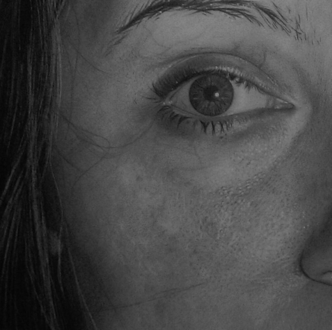 """Self-Portrait"" A2 Graphite (detail)"