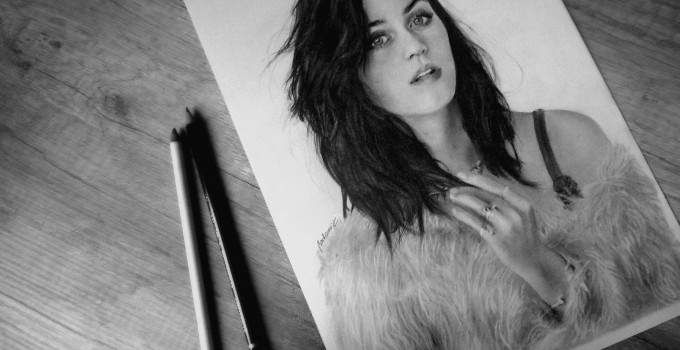 Katy Perry graphite pencil portrait by Jossluka Pencil Drawing