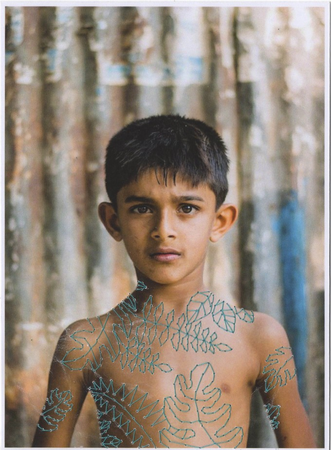 the boy with leaves tatoos