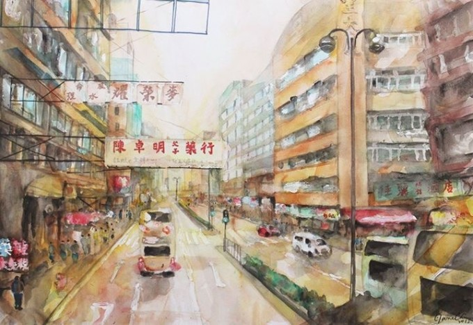 watercolor , Hong Kong,#artpeople,online art galleries,www.artpeoplegallery.com