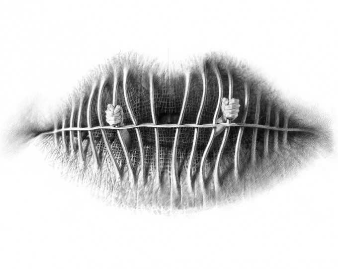 "Lips Series 3.10 - Indiscretion 2010, pencil on paper, 19.8"" x 25.6"",Lips Series by Christo Dagorov #artpeople"