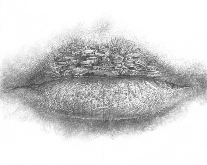 "Lips Series 6.15 - Waste 2015, pencil on paper, 26.4"" x 38.2"""