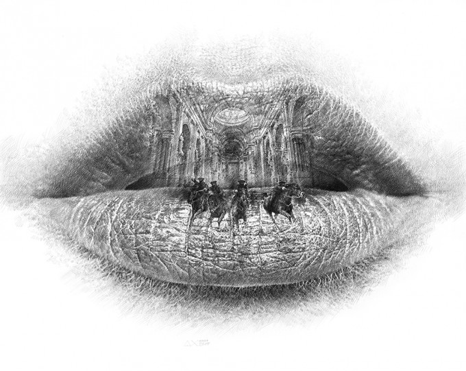 "Lips Series 7.15 - Trust 2015, pencil on paper, 27.5"" x 39.4"",Lips Series by Christo Dagorov #artpeople"