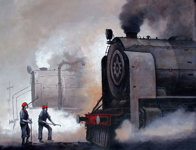 """Nostalgia of Indian steam locomotives"" a series of painting by kishore Pratim Biswas"
