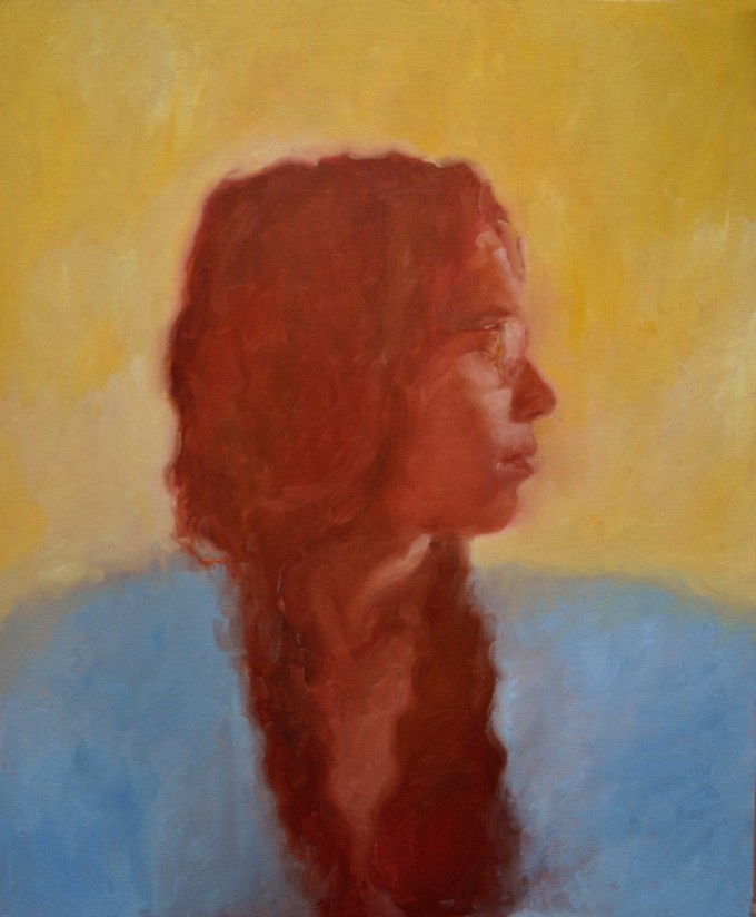 Self portrait in water soluble oil by Jennifer Alarza