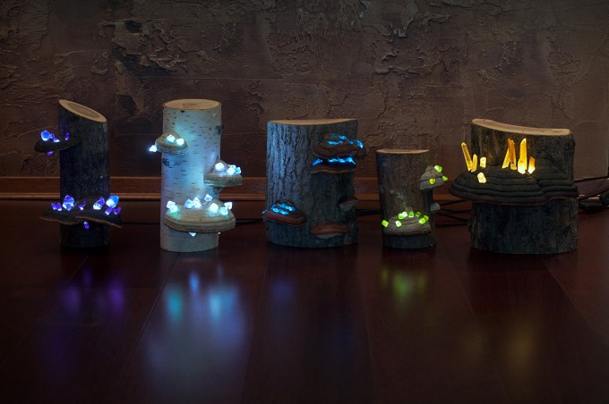 Mushroom night lamps with natural crystals #artpeople
