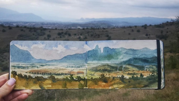 Landscape with the Meteora rocks in the distance