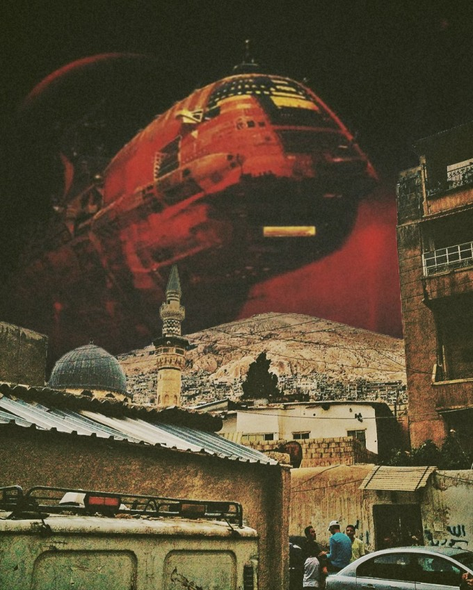 Surreal Mixed Media Collage Art By Ayham Jabr,Damascus Under Siege.