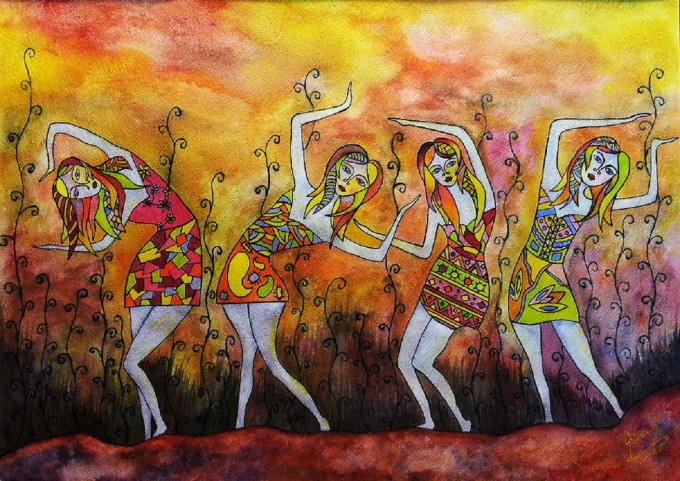 """ Dance"" acrylic on textured paperboard. 50*70 cm (2014) - (SOLD)"