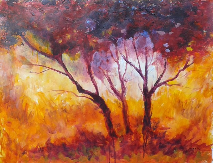 GOLDEN TOUCH, Acrylic painting, 70x50cm. Here comes the new day. The first sun rays are speeding up to blow the dark of the night. The sun is touching the fields shining up the colors, giving new life to all earth treasures. What a magical moment! The grass is waking up all golden and gorgeous. And this tree trio rise in its purple to red wrapper, greeting the life bringing day.