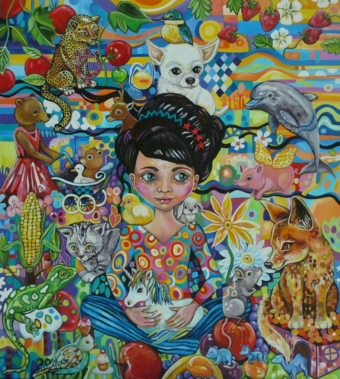 Originally inspired by the story of Snow white and her connection to animals, this is a depiction of love and unity amongst color, beauty and abundance