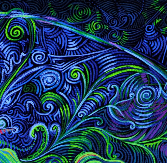 Someone's Footprint on the Universe's Face. Fragment in black light