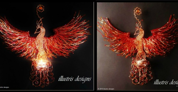 Wire art handmade with crystal beads. Unique Phoenix wall art,  candle holder.