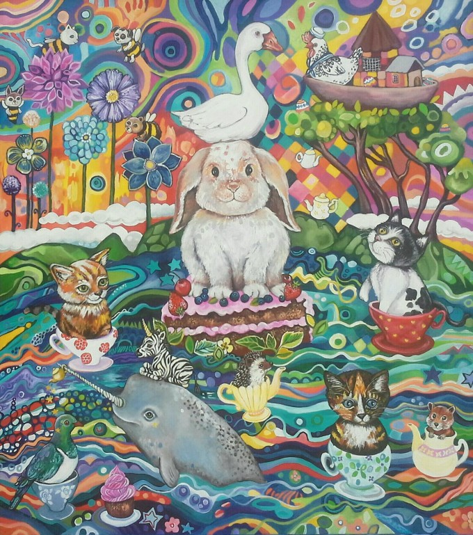 A coming together of animals for a tea-party in the ocean