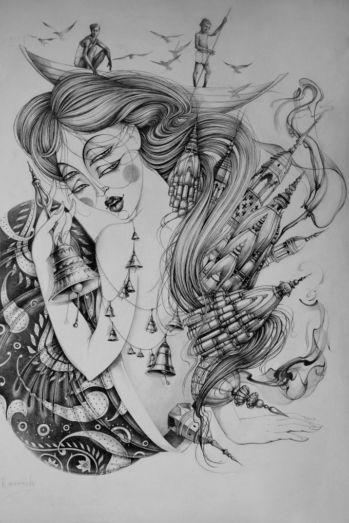 Ganges 1 (size 72x100 cm, pencil, design paper)