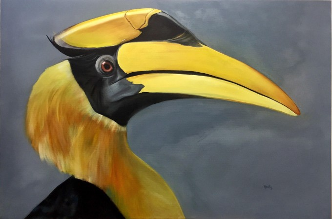 Hornbill, 100x150 cm, Oil on canvas, 2016