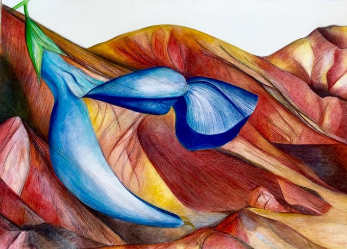 Lines between Heaven and Earth, 70x100 cm, Colored pencil on paper, 2015