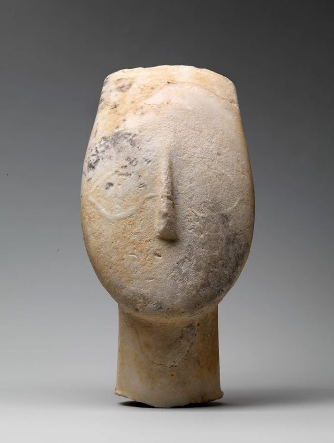 Marble head from the figure of a woman 2600 2500 BC Cyladic