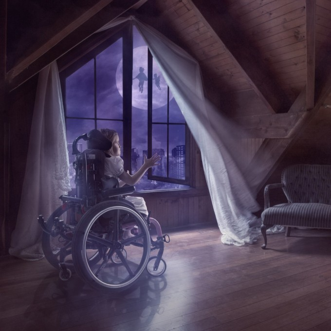 Fly Away to Neverland 1 of 3,Disabled Children Given Wings to Fly by Photoshop Artist