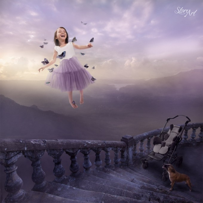 Free to Fly,Disabled Children Given Wings to Fly by Photoshop Artist