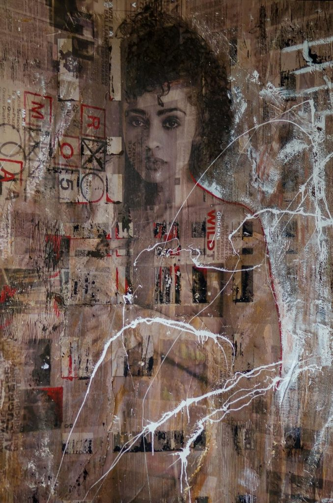 Brazil (part of 'Angels' series) Mixed-media on panel. cm. 280x160