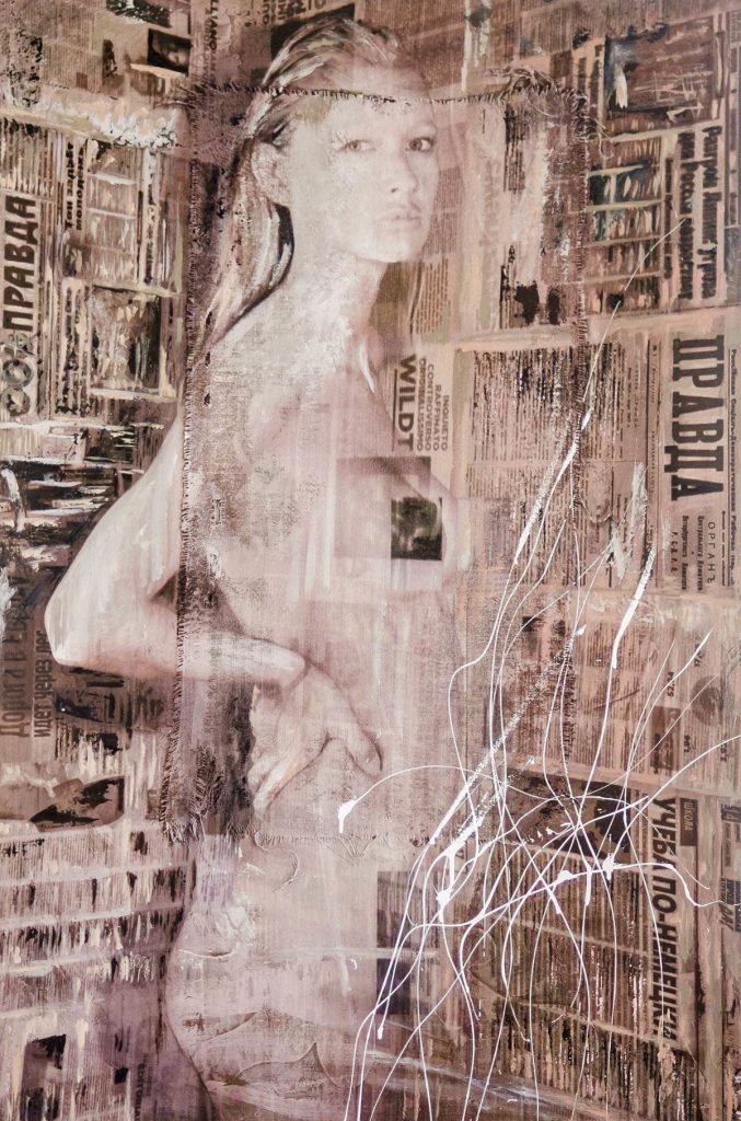 Russia (part of 'Angels' series). mixed-media on panel, cm. 150x100