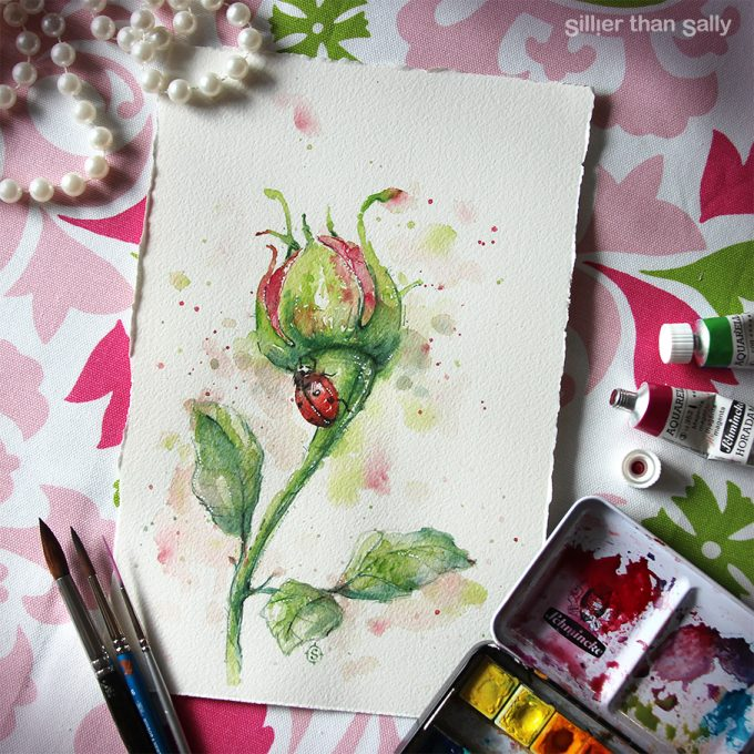 ladybug, ladybird, water colour art, art, whimsical, pink, rose, flower, colourful, Sillier Than Sally Art